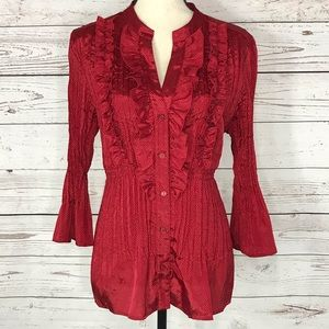NY Collection Top Ruffled Button Front Crinkle